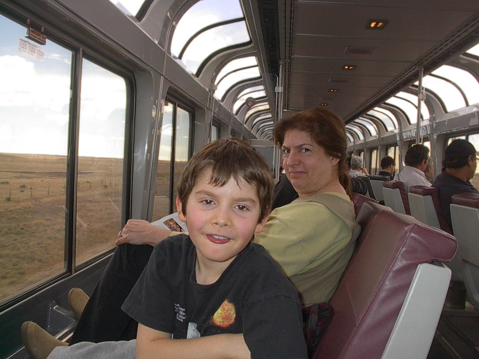 On Southwest Chief Train Justin and Abby Siiting In Observation Deck