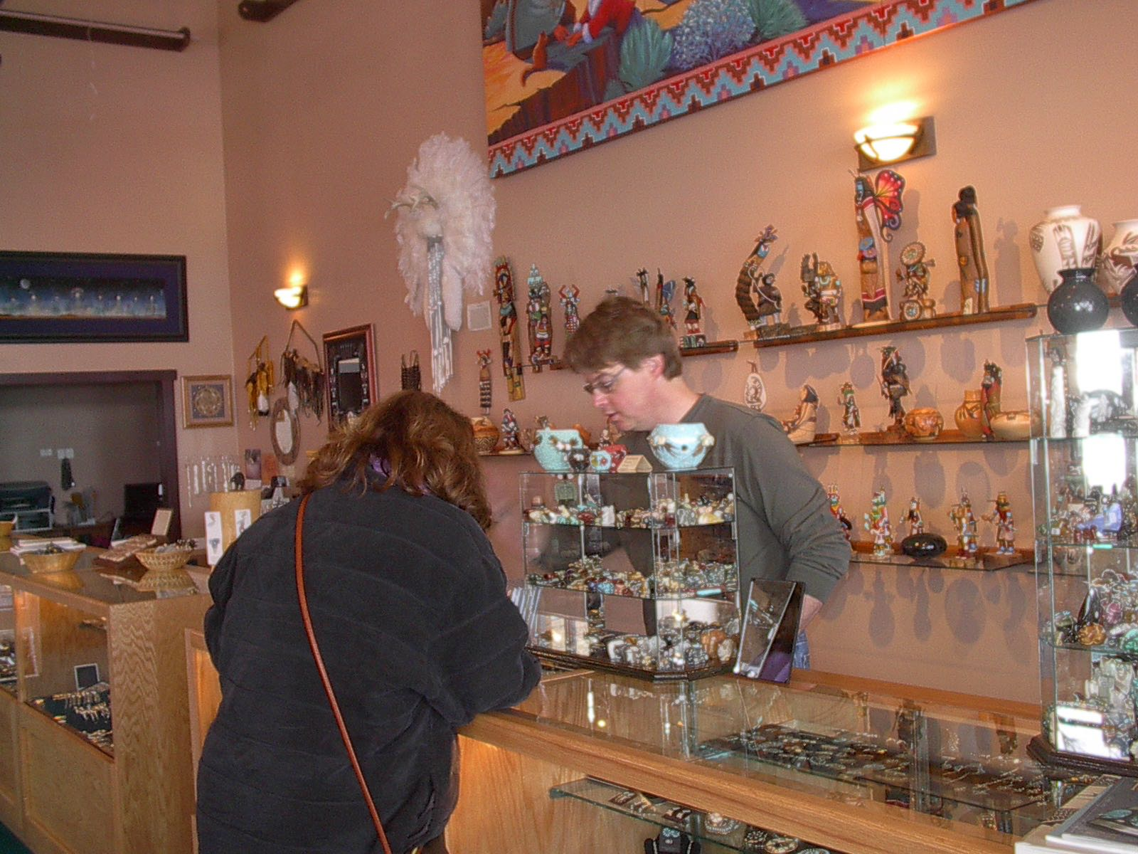 Abby Shopping For Kachinas in Flagstaff