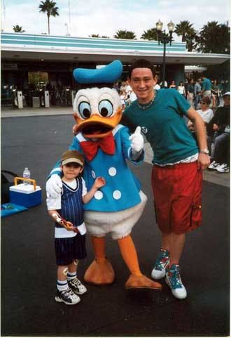 justin, donald duck and noah, disneyworld january 1999