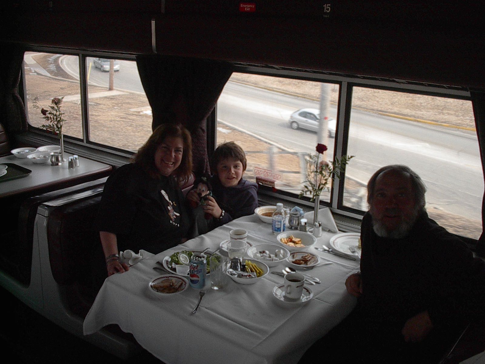 Dennis, Abby, Justin In Dining Car Of Southwest Chief Train
