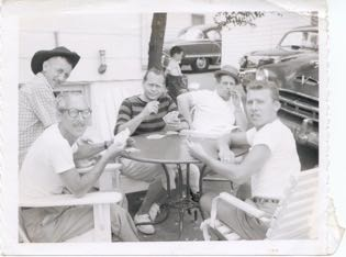 brother Howard with friends, Dick Dickman, Mr. Braunstein, Mr. Cohen playing cards in front of 4 -room bungalow July, 1959
