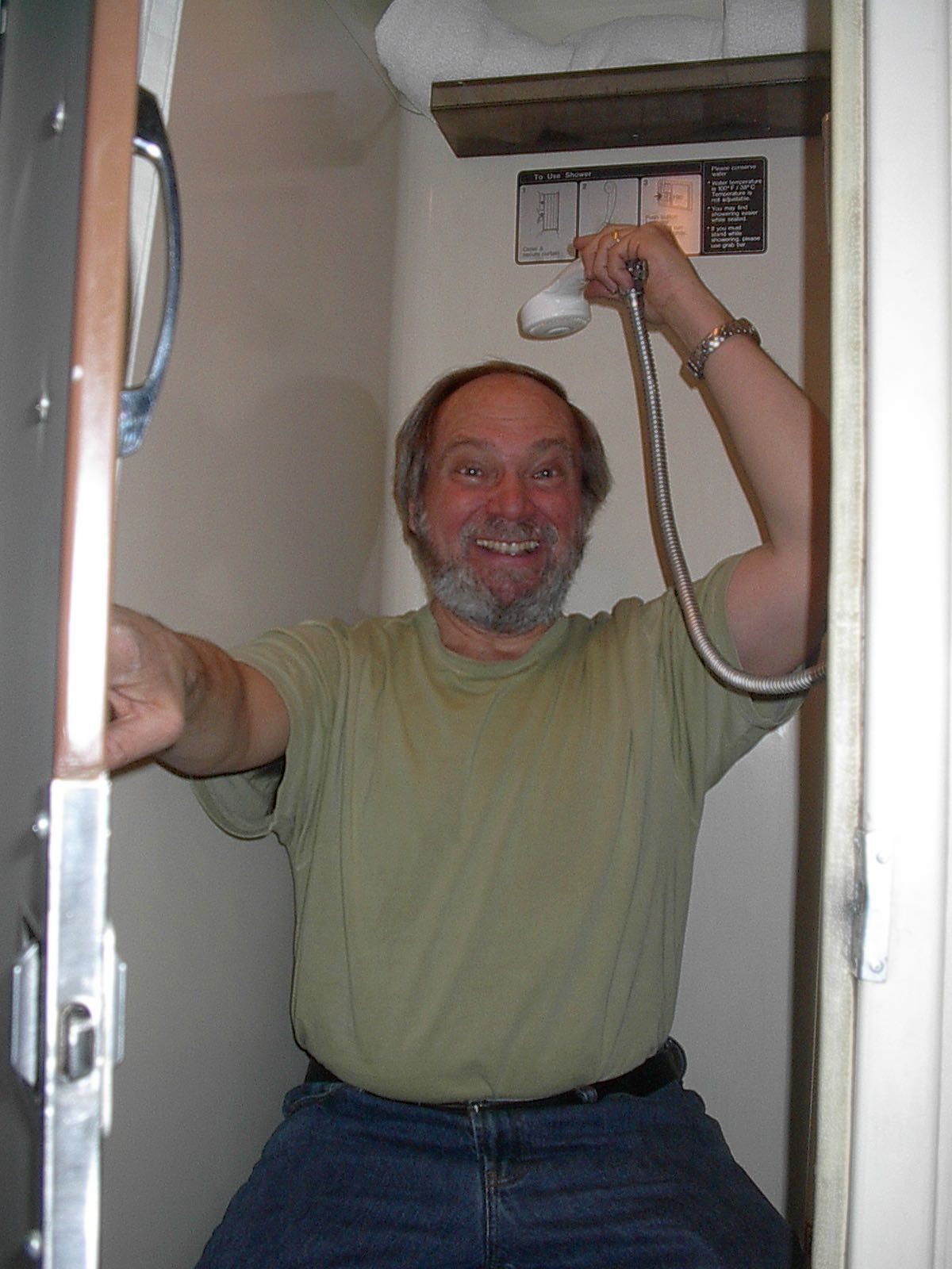 On Southwest Chief Train Dennis Sitting On Toilet In Shower
