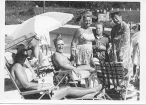 me, mom, brother, Bruce, and relatives at the swimming pool, summer 1959