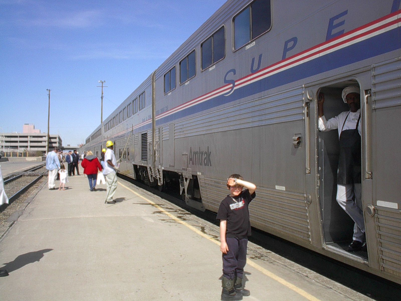 Justin In Front of Southwest Chief Train